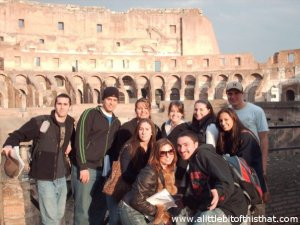 Some of the group at the Coliseum in Rome during our Art and Architecture class.