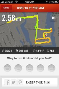 My run. :-)  Love the Nike+ Running app!