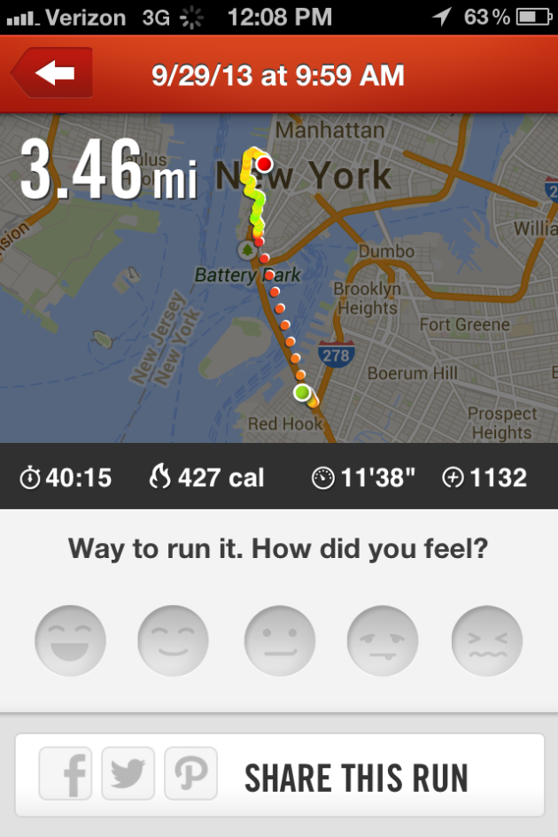 My run on the Nike+ App.  So cool looking!