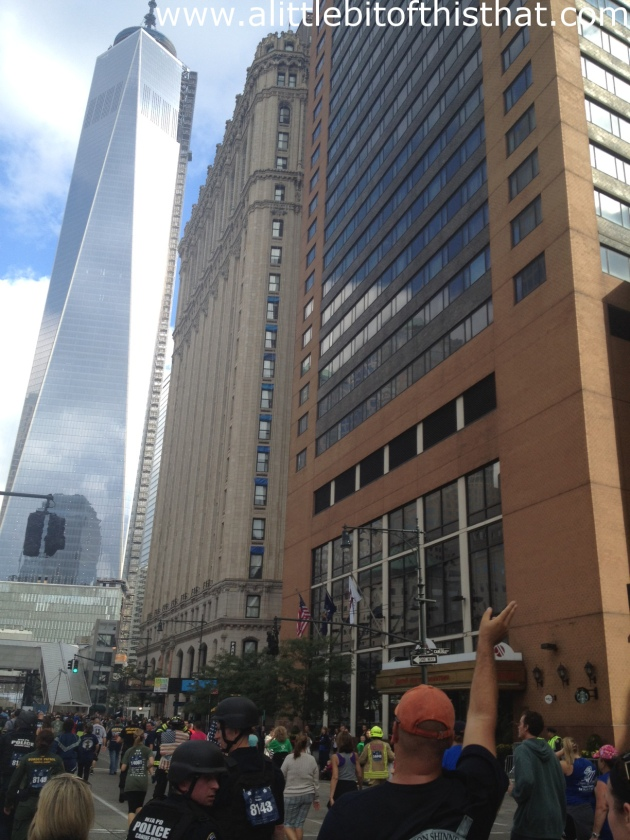 There's Pat in the orange hat! He's waving at Alger but I love this shot it looks like he's waving at the Freedom Tower.